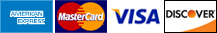 American Express, MasterCard, Visa, Discover accepted